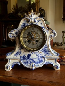 French Blue Delft Clock for Sale
